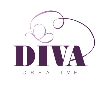 Diva Creative text with flourish ribbon ending in a butterfly.